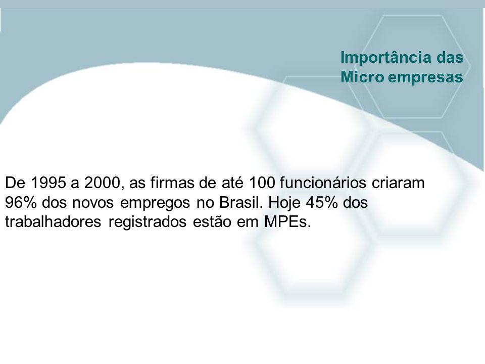 Importância das Micro empresas. De 1995 a 2000, as firmas de até 100 funcionários criaram.