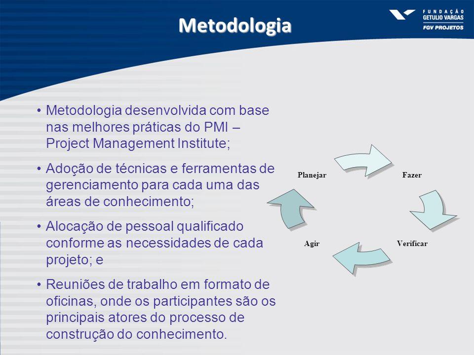 Metodologia Metodologia desenvolvida com base nas melhores práticas do PMI – Project Management Institute;
