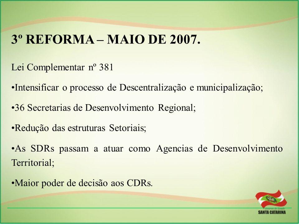 3º REFORMA – MAIO DE 2007. Lei Complementar nº 381