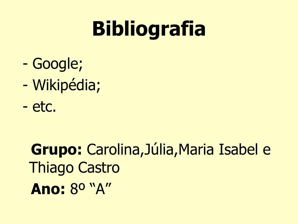 Bibliografia - Google; - Wikipédia; - etc.