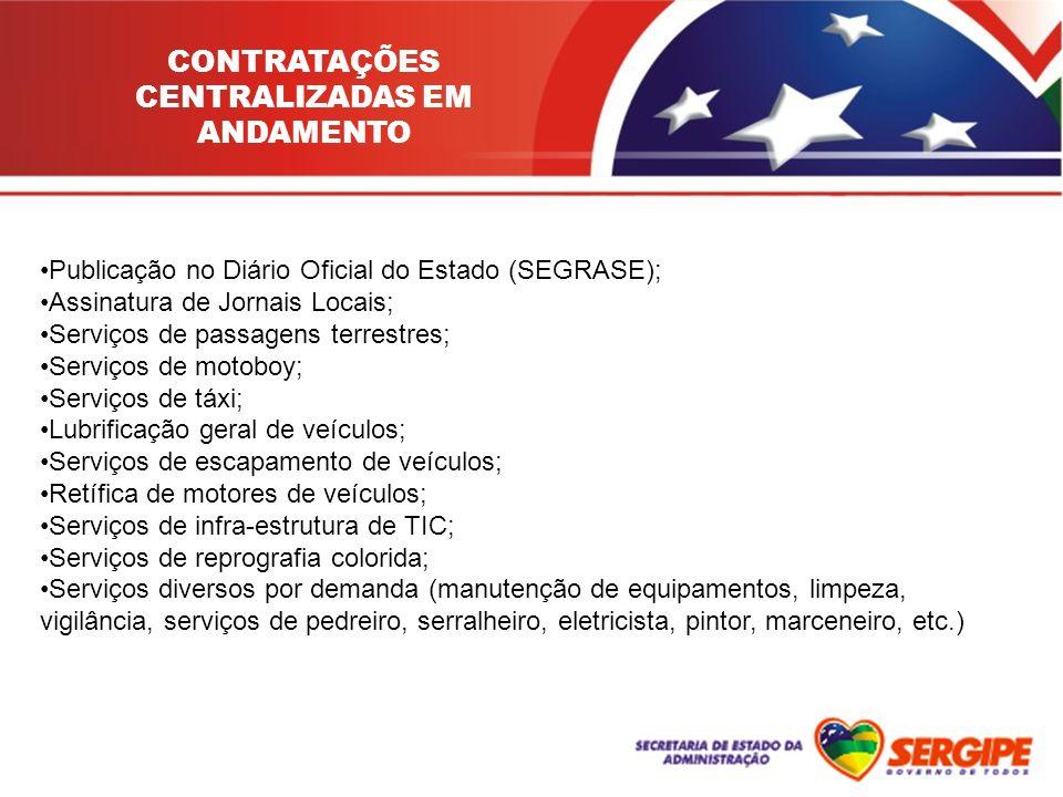 CONTRATAÇÕES CENTRALIZADAS EM ANDAMENTO