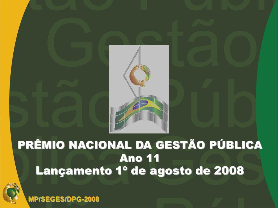 PRÊMIO NACIONAL DA GESTÃO PÚBLICA Lançamento 1º de agosto de 2008