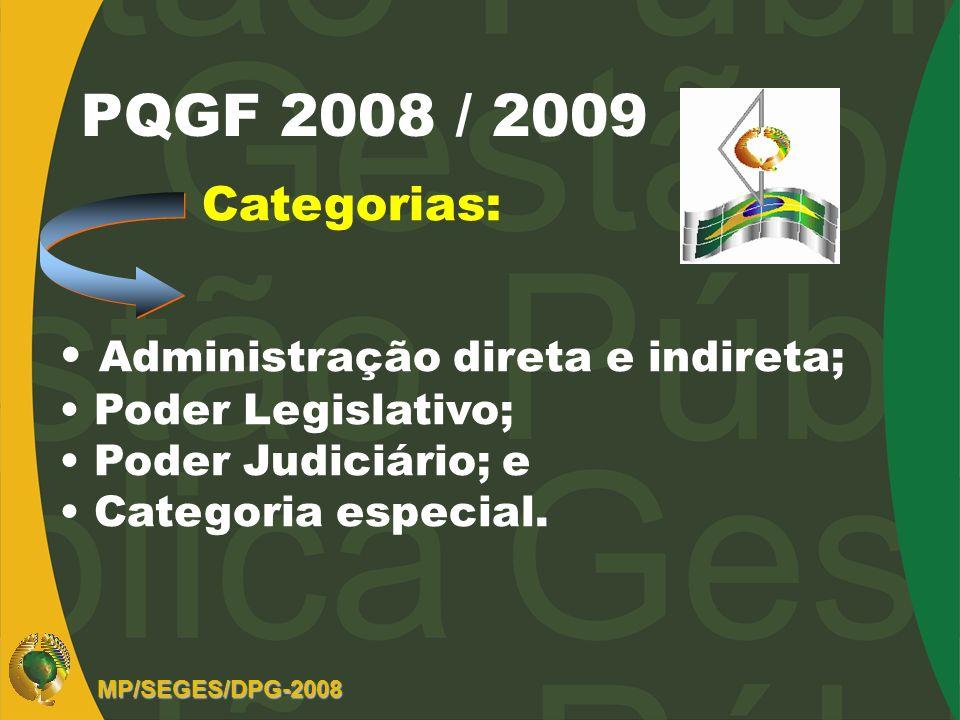 PQGF 2008 / 2009 Categorias: Administração direta e indireta;