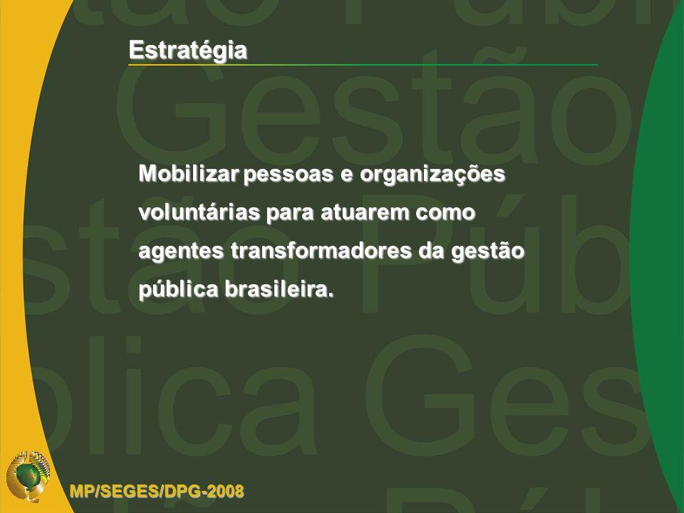 Estratégia Mobilizar pessoas e organizações voluntárias para atuarem como agentes transformadores da gestão pública brasileira.