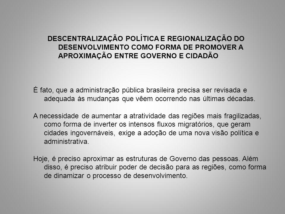 DESCENTRALIZAÇÃO POLÍTICA E REGIONALIZAÇÃO DO DESENVOLVIMENTO COMO FORMA DE PROMOVER A APROXIMAÇÃO ENTRE GOVERNO E CIDADÃO