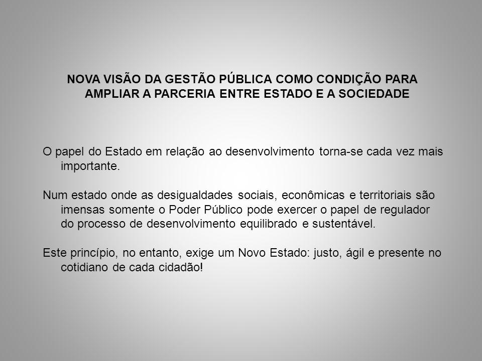 NOVA VISÃO DA GESTÃO PÚBLICA COMO CONDIÇÃO PARA AMPLIAR A PARCERIA ENTRE ESTADO E A SOCIEDADE