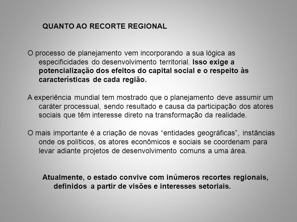QUANTO AO RECORTE REGIONAL