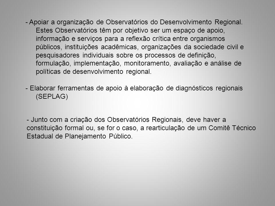 - Apoiar a organização de Observatórios do Desenvolvimento Regional