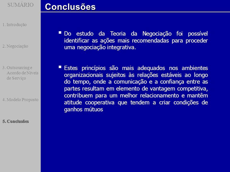 SUMÁRIO Introdução. Negociação. Outsourcing e Acordo de Níveis de Serviço. Modelo Proposto. Conclusões.