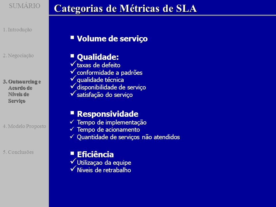 Categorias de Métricas de SLA