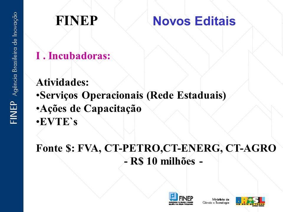 FINEP Novos Editais I . Incubadoras: Atividades: