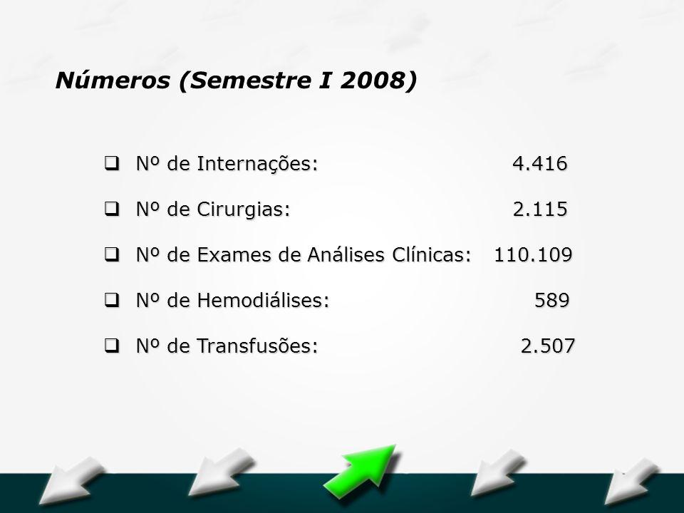 Números (Semestre I 2008) Nº de Internações: 4.416