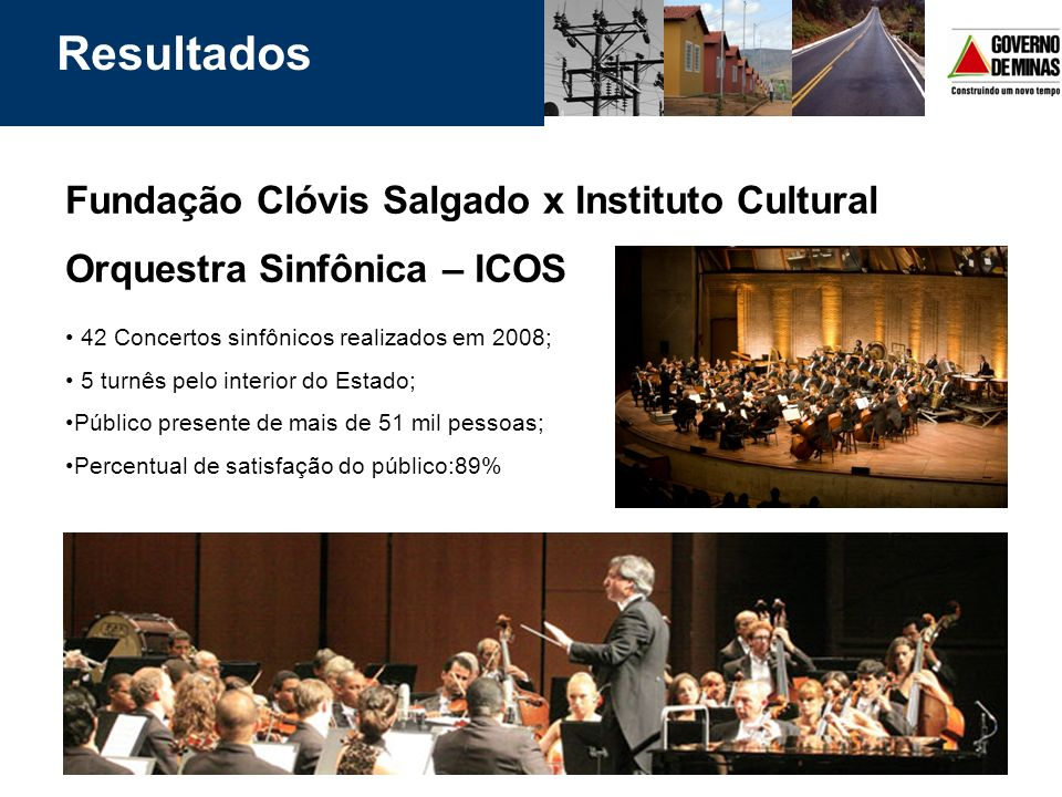 Resultados Fundação Clóvis Salgado x Instituto Cultural Orquestra Sinfônica – ICOS. 42 Concertos sinfônicos realizados em 2008;