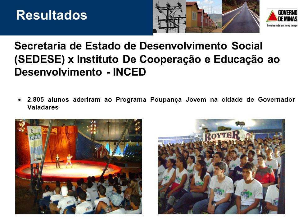Resultados Secretaria de Estado de Desenvolvimento Social (SEDESE) x Instituto De Cooperação e Educação ao Desenvolvimento - INCED.