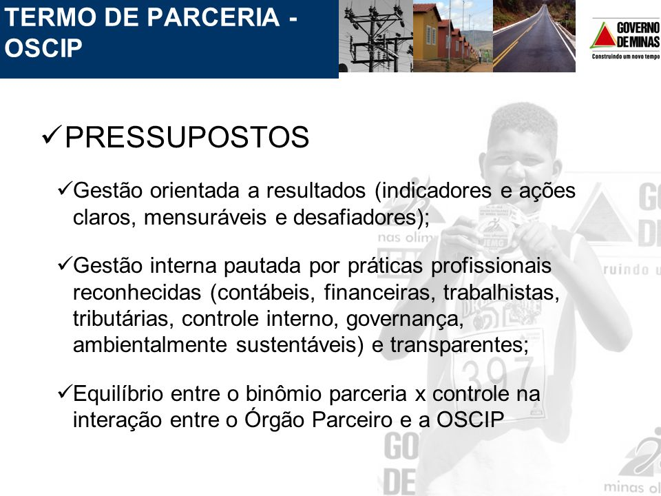 PRESSUPOSTOS TERMO DE PARCERIA - OSCIP