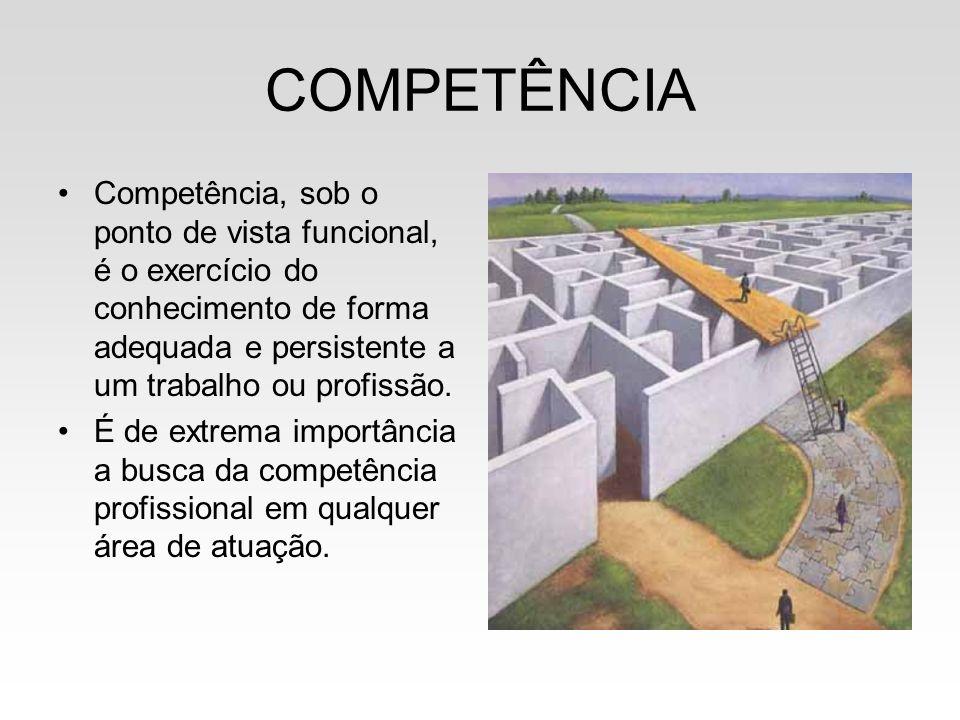 COMPETÊNCIA Competência, sob o ponto de vista funcional, é o exercício do conhecimento de forma adequada e persistente a um trabalho ou profissão.
