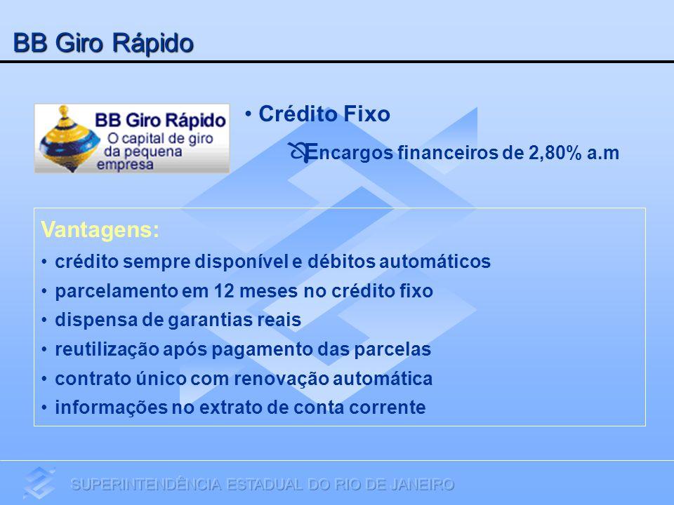 BB Giro Rápido Crédito Fixo Encargos financeiros de 2,80% a.m