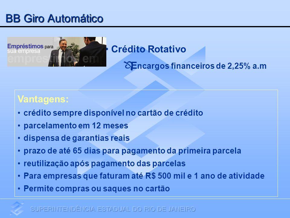 BB Giro Automático Crédito Rotativo Encargos financeiros de 2,25% a.m