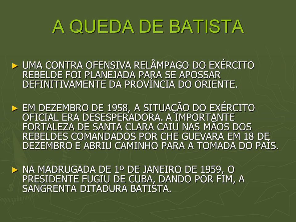 A QUEDA DE BATISTAUMA CONTRA OFENSIVA RELÂMPAGO DO EXÉRCITO REBELDE FOI PLANEJADA PARA SE APOSSAR DEFINITIVAMENTE DA PROVÍNCIA DO ORIENTE.