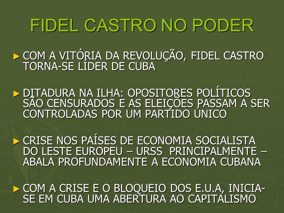 FIDEL CASTRO NO PODER COM A VITÓRIA DA REVOLUÇÃO, FIDEL CASTRO TORNA-SE LÍDER DE CUBA.