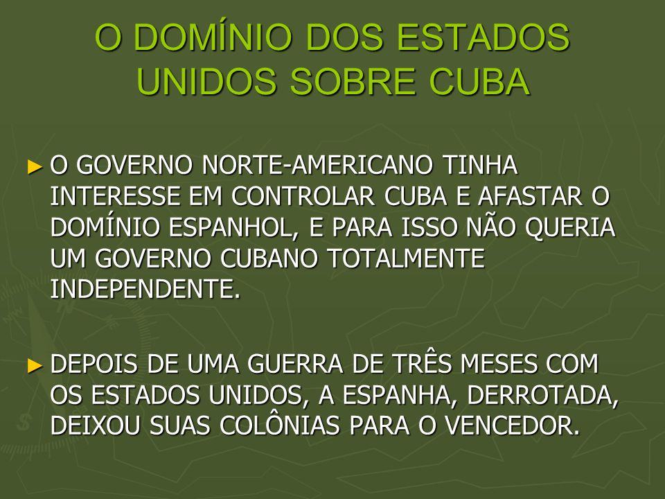 O DOMÍNIO DOS ESTADOS UNIDOS SOBRE CUBA
