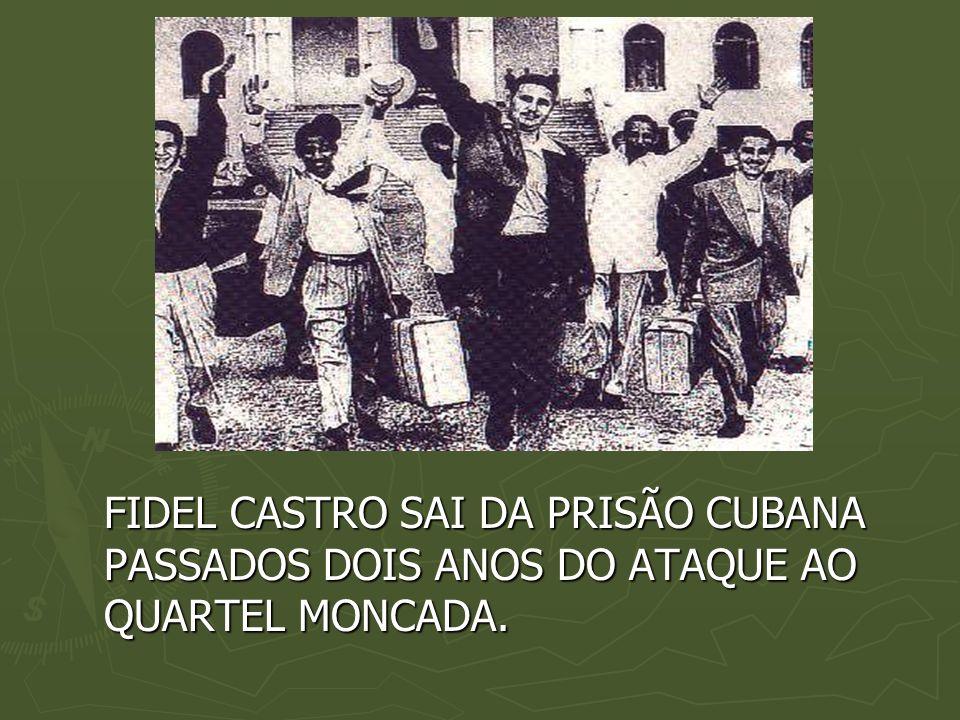 FIDEL CASTRO SAI DA PRISÃO CUBANA PASSADOS DOIS ANOS DO ATAQUE AO QUARTEL MONCADA.