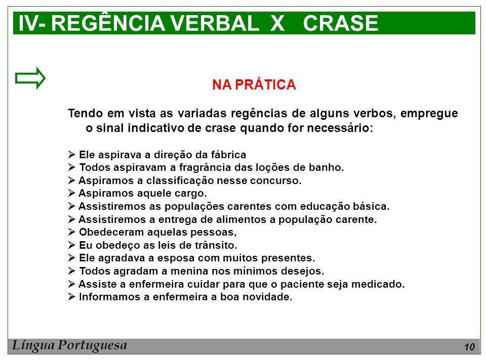 IV- REGÊNCIA VERBAL X CRASE