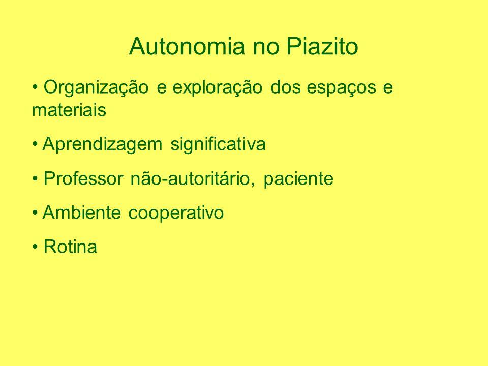 Autonomia no Piazito Organização e exploração dos espaços e materiais
