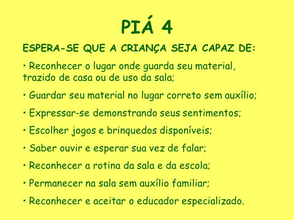 PIÁ 4 ESPERA-SE QUE A CRIANÇA SEJA CAPAZ DE: