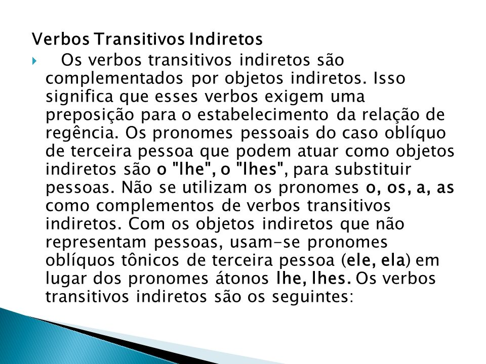 Verbos Transitivos Indiretos