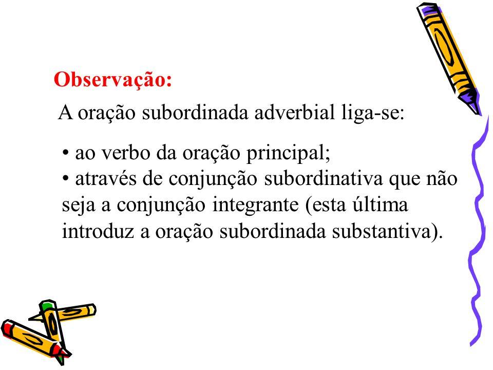 Observação: A oração subordinada adverbial liga-se: ao verbo da oração principal;