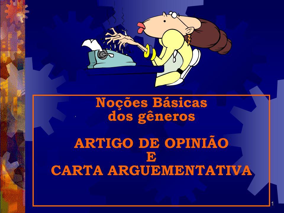 Noções Básicas dos gêneros ARTIGO DE OPINIÃO E CARTA ARGUEMENTATIVA