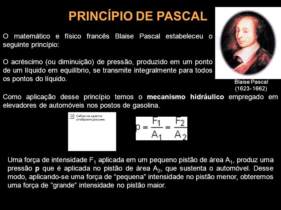 PRINCÍPIO DE PASCAL O matemático e físico francês Blaise Pascal estabeleceu o seguinte princípio: