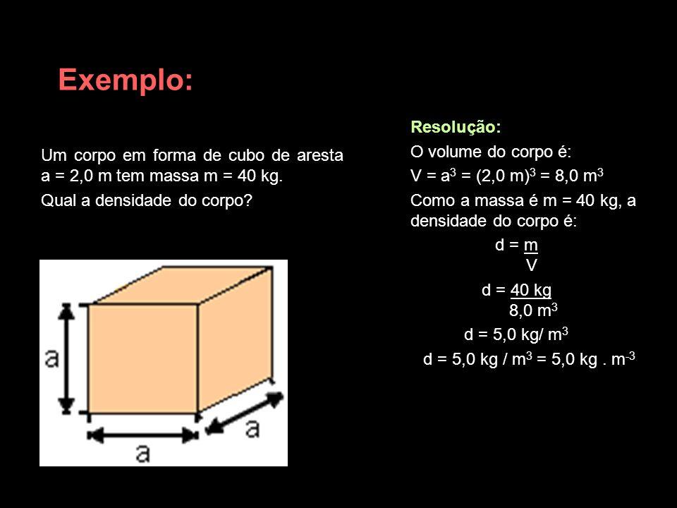 Exemplo: Resolução: O volume do corpo é: V = a3 = (2,0 m)3 = 8,0 m3