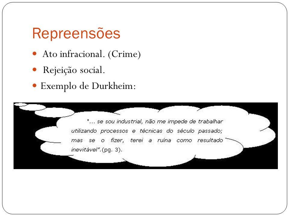 Repreensões Ato infracional. (Crime) Rejeição social.