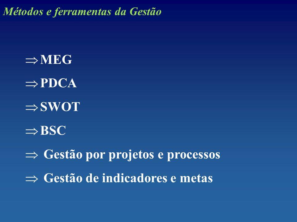 Gestão por projetos e processos Gestão de indicadores e metas