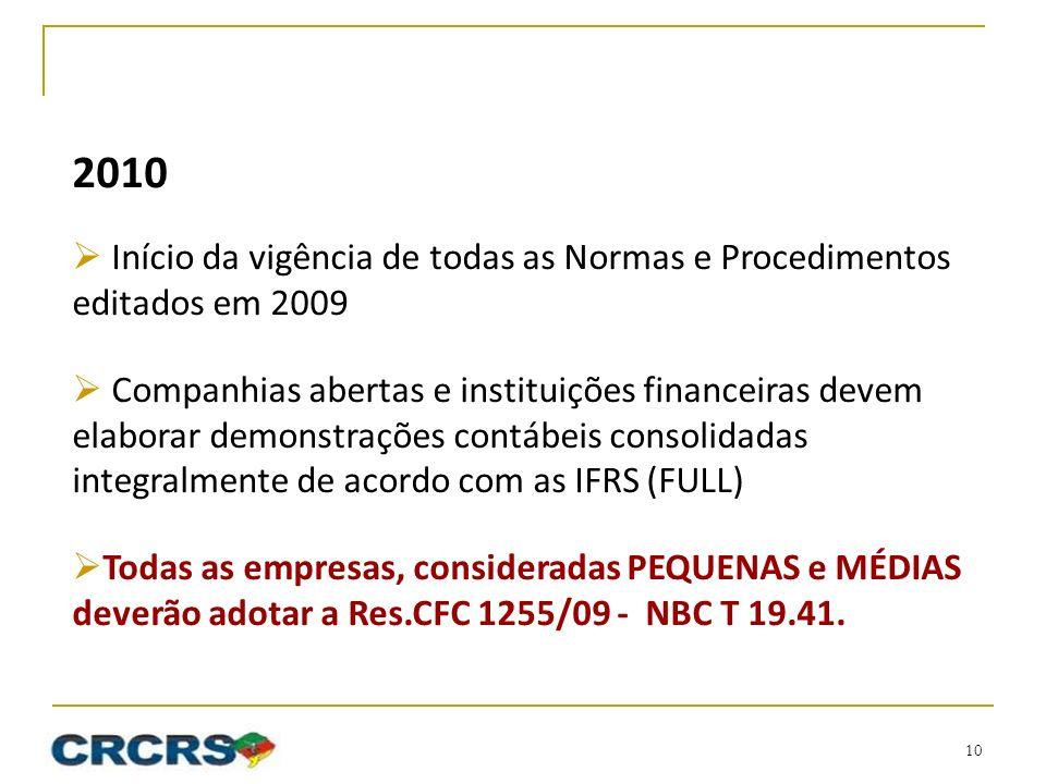 2010 Início da vigência de todas as Normas e Procedimentos editados em 2009.