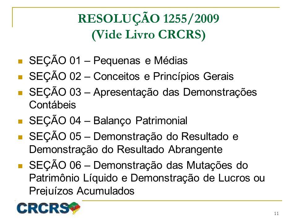 RESOLUÇÃO 1255/2009 (Vide Livro CRCRS)