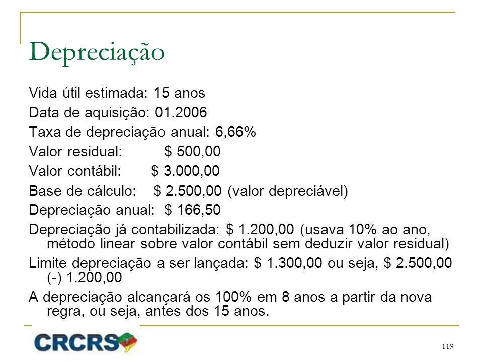 Depreciação Vida útil estimada: 15 anos Data de aquisição: 01.2006