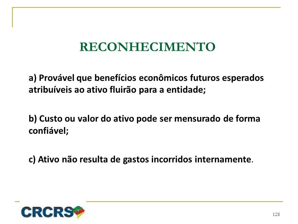RECONHECIMENTO a) Provável que benefícios econômicos futuros esperados atribuíveis ao ativo fluirão para a entidade;