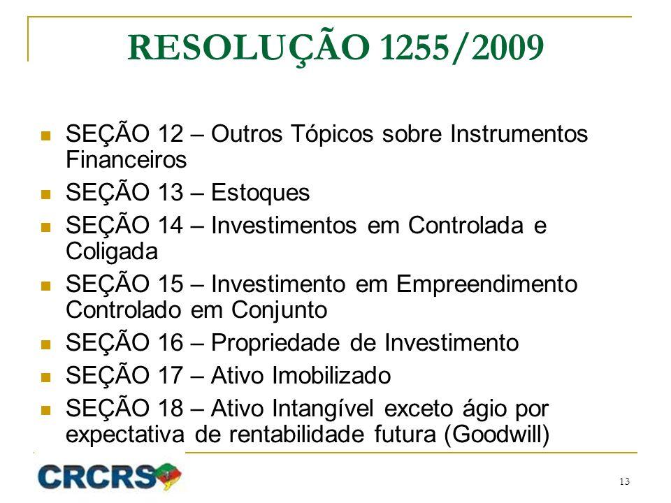 RESOLUÇÃO 1255/2009 SEÇÃO 12 – Outros Tópicos sobre Instrumentos Financeiros. SEÇÃO 13 – Estoques.