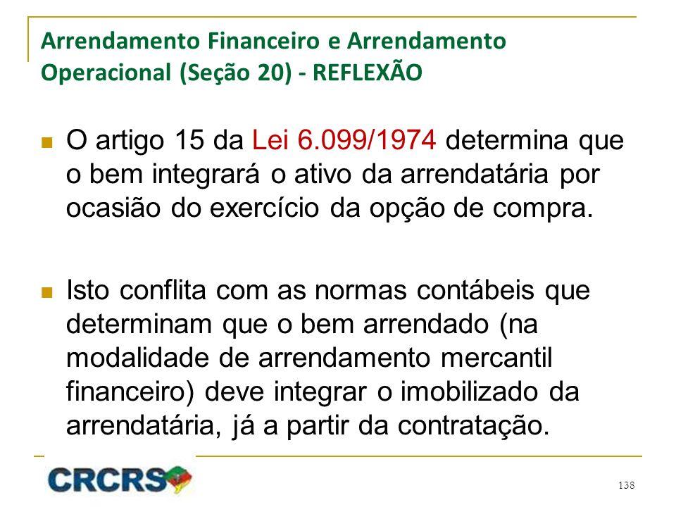 Arrendamento Financeiro e Arrendamento Operacional (Seção 20) - REFLEXÃO