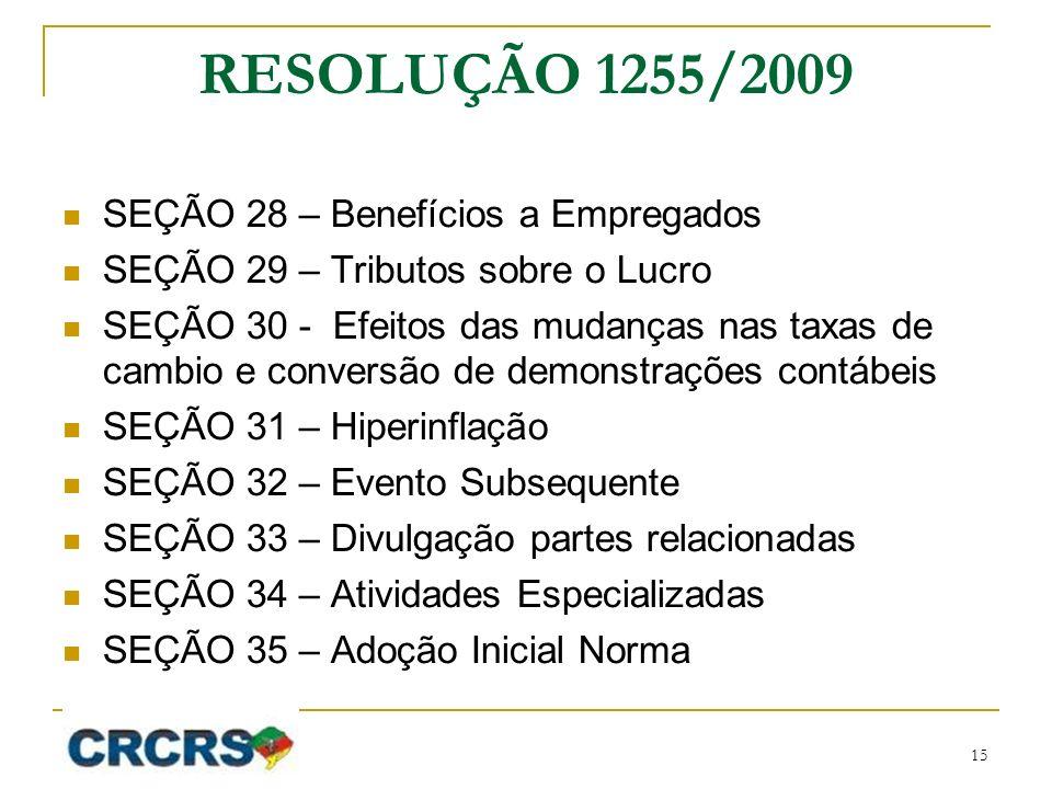 RESOLUÇÃO 1255/2009 SEÇÃO 28 – Benefícios a Empregados