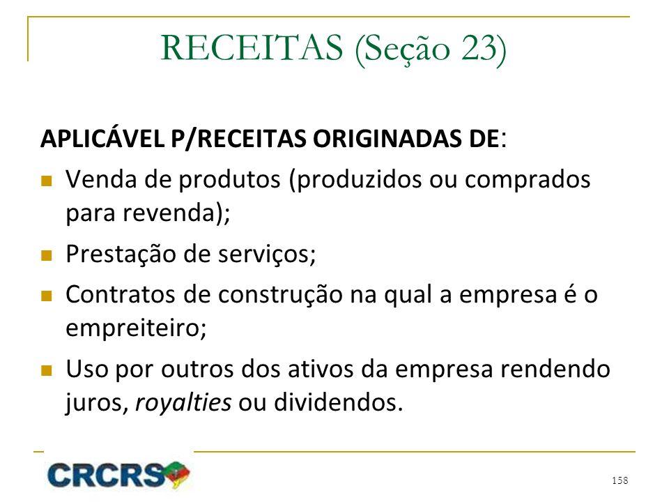 RECEITAS (Seção 23) APLICÁVEL P/RECEITAS ORIGINADAS DE: