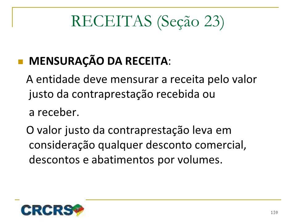 RECEITAS (Seção 23) MENSURAÇÃO DA RECEITA: