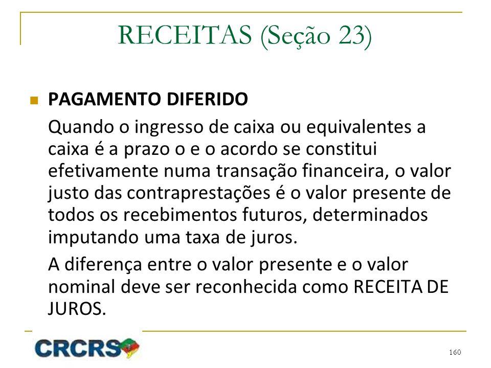 RECEITAS (Seção 23) PAGAMENTO DIFERIDO
