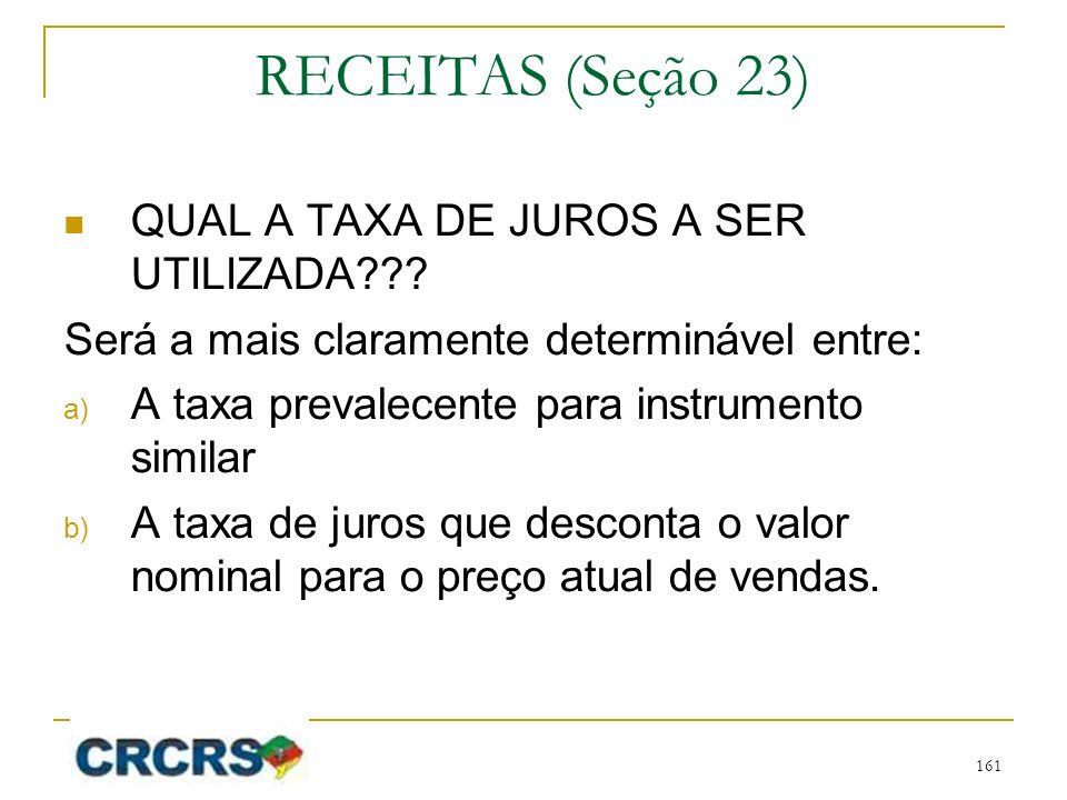 RECEITAS (Seção 23) QUAL A TAXA DE JUROS A SER UTILIZADA