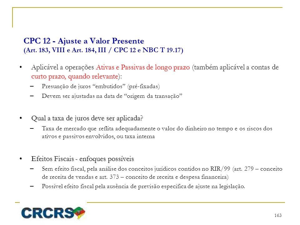 CPC 12 - Ajuste a Valor Presente (Art. 183, VIII e Art