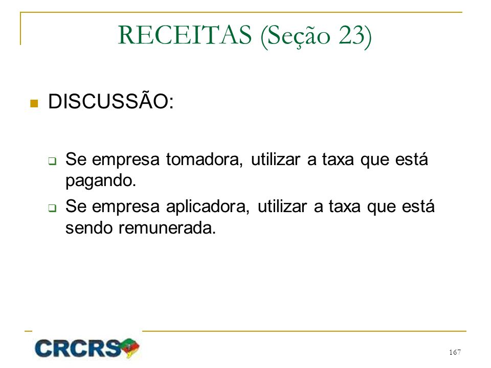 RECEITAS (Seção 23) DISCUSSÃO: