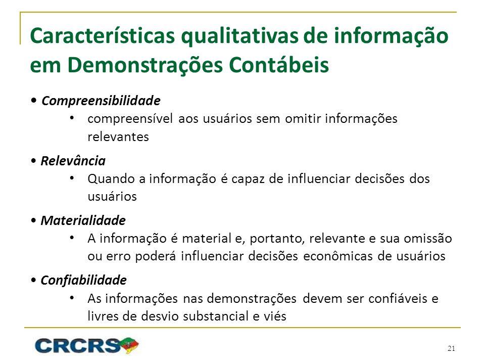 Características qualitativas de informação em Demonstrações Contábeis